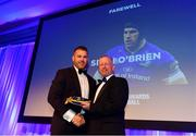 28 April 2019; Leinster Rugby departee Sean O'Brien, left, receives his cap from Leinster Branch President Lorcan Balfe. The Leinster Rugby Awards Ball, taking place at the InterContinental Dublin and MC'd by Darragh Maloney, were a celebration of the 2018/19 Leinster Rugby season to date and over the course of the evening Leinster Rugby acknowledged the contributions of departees Seán O'Brien, Jack McGrath, Noel Reid, Mick Kearney, Nick McCarthy, Tom Daly and Ian Nagle. Former Leinster, Ireland and British & Irish Lions player Paul Dean was inducted into the Guinness Hall of Fame. Some of the other Award winners on the night included; St. Michael's College (Deep River Rock School of the Year), Larry Halpin, Terenure College (Beauchamps Contribution to Leinster Rugby Award), Naas RFC (CityJet Senior Club of the Year), Patrician Secondary School Newbridge (Irish Independent Development School of the Year Award), Suttonians RFC (Bank of Ireland Junior Club of the Year) and Sene Naoupu (Energia Women's Rugby Award). Photo by Ramsey Cardy/Sportsfile