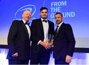 28 April 2019; Max Deegan is presented with the Laya Healthcare Young Player of the Year award by D.O. O'Connor, Deputy Managing Director, Laya Healthcare, and Leinster Branch President Lorcan Balfe. The Leinster Rugby Awards Ball, taking place at the InterContinental Dublin and MC'd by Darragh Maloney, were a celebration of the 2018/19 Leinster Rugby season to date and over the course of the evening Leinster Rugby acknowledged the contributions of departees Seán O'Brien, Jack McGrath, Noel Reid, Mick Kearney, Nick McCarthy, Tom Daly and Ian Nagle. Former Leinster, Ireland and British & Irish Lions player Paul Dean was inducted into the Guinness Hall of Fame. Some of the other Award winners on the night included; St. Michael's College (Deep River Rock School of the Year), Larry Halpin, Terenure College (Beauchamps Contribution to Leinster Rugby Award), Naas RFC (CityJet Senior Club of the Year), Patrician Secondary School Newbridge (Irish Independent Development School of the Year Award), Suttonians RFC (Bank of Ireland Junior Club of the Year) and Sene Naoupu (Energia Women's Rugby Award). Photo by Ramsey Cardy/Sportsfile