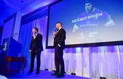 28 April 2019; Leinster Rugby departee Sean O'Brien is interviewed on stage by MC Darragh Moloney. The Leinster Rugby Awards Ball, taking place at the InterContinental Dublin and MC'd by Darragh Maloney, were a celebration of the 2018/19 Leinster Rugby season to date and over the course of the evening Leinster Rugby acknowledged the contributions of departees Seán O'Brien, Jack McGrath, Noel Reid, Mick Kearney, Nick McCarthy, Tom Daly and Ian Nagle. Former Leinster, Ireland and British & Irish Lions player Paul Dean was inducted into the Guinness Hall of Fame. Some of the other Award winners on the night included; St. Michael's College (Deep River Rock School of the Year), Larry Halpin, Terenure College (Beauchamps Contribution to Leinster Rugby Award), Naas RFC (CityJet Senior Club of the Year), Patrician Secondary School Newbridge (Irish Independent Development School of the Year Award), Suttonians RFC (Bank of Ireland Junior Club of the Year) and Sene Naoupu (Energia Women's Rugby Award). Photo by Ramsey Cardy/Sportsfile
