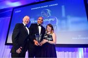 28 April 2019; George Naoupu is presented with the Energia Women's Rugby Award on behalf of Sene Naoupu, by Amy O'Shaughnessy, Marketing Acquisitions & Sponsorship Manager of Energia. The Leinster Rugby Awards Ball, taking place at the InterContinental Dublin and MC'd by Darragh Maloney, were a celebration of the 2018/19 Leinster Rugby season to date and over the course of the evening Leinster Rugby acknowledged the contributions of departees Seán O'Brien, Jack McGrath, Noel Reid, Mick Kearney, Nick McCarthy, Tom Daly and Ian Nagle. Former Leinster, Ireland and British & Irish Lions player Paul Dean was inducted into the Guinness Hall of Fame. Some of the other Award winners on the night included; St. Michael's College (Deep River Rock School of the Year), Larry Halpin, Terenure College (Beauchamps Contribution to Leinster Rugby Award), Naas RFC (CityJet Senior Club of the Year), Patrician Secondary School Newbridge (Irish Independent Development School of the Year Award), Suttonians RFC (Bank of Ireland Junior Club of the Year) and Sene Naoupu (Energia Women's Rugby Award). Photo by Ramsey Cardy/Sportsfile