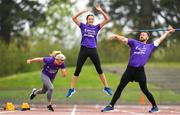 29 April 2019; Sprinter Molly Scott, left, high jumper Daena Kealy, centre, and javelin thrower Rory Gunning during the launch of the Irish Life Health Athletics Summer Camp in Morton Stadium in Santry, Dublin. Run, Jump and Throw at the Irish Life Health Athletics Summer Camps! Photo by Ramsey Cardy/Sportsfile