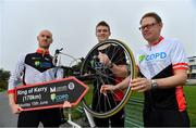 29 April 2019; Kildare footballer Kevin Feely, with Peter O'Toole, left, advanced nurse practicioner, St Michael's Hosital, Dún Laoghaire, and David Magee, right, medical advisor, A Menarini, at the launch of the 'Get Breathless for COPD Cycle'. Supported by A.Menarini Pharmaceuticals and held in partnership with COPD Support Ireland, it aims to raise much-needed funds for COPD Support Ireland and pulmonary rehabilitation services. Photo by Brendan Moran/Sportsfile