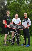 29 April 2019; Kildare footballer Kevin Feely, with David Magee, centre, medical advisor, A Menarini, and Peter O'Toole, right, advanced nurse practicioner, St Michael's Hosital, Dún Laoghaire, at the launch of the 'Get Breathless for COPD Cycle'. Supported by A.Menarini Pharmaceuticals and held in partnership with COPD Support Ireland, it aims to raise much-needed funds for COPD Support Ireland and pulmonary rehabilitation services. Photo by Brendan Moran/Sportsfile