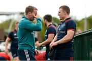 29 April 2019; Forwards coach Jerry Flannery and Andrew Conway in conversation prior to Munster Rugby squad training at the University of Limerick in Limerick. Photo by Diarmuid Greene/Sportsfile
