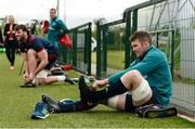29 April 2019; Peter O'Mahony puts on his boots prior to Munster Rugby squad training at the University of Limerick in Limerick. Photo by Diarmuid Greene/Sportsfile