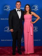 28 April 2019; On arrival at the Leinster Rugby Awards Ball are Ed Byrne and Rebecca Long. The Leinster Rugby Awards Ball, taking place at the InterContinental Dublin were a celebration of the 2018/19 Leinster Rugby season to date. Photo by Ramsey Cardy/Sportsfile