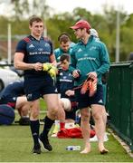 29 April 2019; Tommy O'Donnell, left, and Tyler Bleyendaal arrive for Munster Rugby squad training at the University of Limerick in Limerick. Photo by Diarmuid Greene/Sportsfile