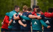 29 April 2019; Peter O'Mahony speaks to his team-mates as they huddle together during Munster Rugby squad training at the University of Limerick in Limerick. Photo by Diarmuid Greene/Sportsfile