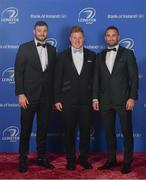 28 April 2019; On arrival at the Leinster Rugby Awards Ball are Robbie Henshaw, left, James Tracy, centre, and Dave Kearney. The Leinster Rugby Awards Ball, taking place at the InterContinental Dublin were a celebration of the 2018/19 Leinster Rugby season to date. Photo by Ramsey Cardy/Sportsfile