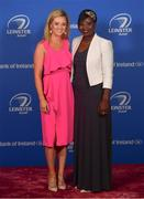 28 April 2019; On arrival at the Leinster Rugby Awards Ball are Jane Logan-Phelan and Astou N'Diaye. The Leinster Rugby Awards Ball, taking place at the InterContinental Dublin were a celebration of the 2018/19 Leinster Rugby season to date. Photo by Ramsey Cardy/Sportsfile