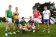 29 April 2019; Footballers, from left, Iain Corbett of Limerick, Eoin Cleary of Clare, Paul Murphy of Kerry, Conor Sweeney of Tipperary,  Ian Maguire of Cork and Brian Looby of Waterford at the Munster Senior Hurling and Senior Football Championships 2019 Launch, at the Gold Coast Resort Hotel in Dungarvan, Co Waterford. Photo by Harry Murphy/Sportsfile