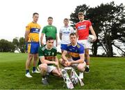 29 April 2019; Footballers, from left, Eoin Cleary of Clare,  Iain Corbett of Limerick, Paul Murphy of Kerry, Conor Sweeney of Tipperary,  Ian Maguire of Cork and Brian Looby of Waterford at the Munster Senior Hurling and Senior Football Championships 2019 Launch, at the Gold Coast Resort Hotel in Dungarvan, Co Waterford. Photo by Harry Murphy/Sportsfile