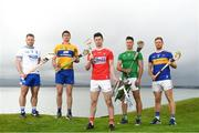 29 April 2019; Hurlers, from left, Noel Connors of Waterford, Conor Cleary of Clare,  Séamus Harnedy of  Cork, Dan Morrissey of Limerick and Jason Forde of Tipperary at the Munster Senior Hurling and Senior Football Championships 2019 Launch, at the Gold Coast Resort Hotel in Dungarvan, Co Waterford. Photo by Harry Murphy/Sportsfile