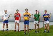 29 April 2019; Hurlers, from left, Noel Connors of Waterford, Séamus Harnedy of  Cork, Conor Cleary of Clare, Dan Morrissey of Limerick and Jason Forde of Tipperary at the Munster Senior Hurling and Senior Football Championships 2019 Launch, at the Gold Coast Resort Hotel in Dungarvan, Co Waterford. Photo by Harry Murphy/Sportsfile