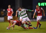 29 April 2019; Ciaran Kelly of St Patrick's Athletic in action against Jack Byrne of Shamrock Rovers during the SSE Airtricity League Premier Division match between Shamrock Rovers and St Patrick's Athletic at Tallaght Stadium in Dublin. Photo by Seb Daly/Sportsfile