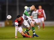 29 April 2019; David Webster of St Patrick's Athletic in action against Trevor Clarke of Shamrock Rovers during the SSE Airtricity League Premier Division match between Shamrock Rovers and St Patrick's Athletic at Tallaght Stadium in Dublin. Photo by Seb Daly/Sportsfile