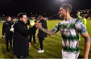 29 April 2019; Shamrock Rovers manager Stephen Bradley and Lee Grace congratulate each other following their side's victory during the SSE Airtricity League Premier Division match between Shamrock Rovers and St Patrick's Athletic at Tallaght Stadium in Dublin. Photo by Seb Daly/Sportsfile