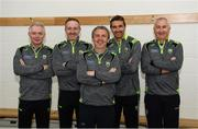 23 April 2019 ; Kerry manager Peter Keane, centre, along with his management team consisting of James Foley, Tommy Griffin, Maurice Fitzgerald and Donie Buckley during the Kerry football squad portraits 2019 at Kerry GAA Centre of Excellence in Currans, County Kerry. Photo by Diarmuid Greene/Sportsfile