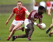 30 March 2019; Boidu Sayeh of Westmeath in action against Jim McEnaney of Louth during the Allianz Football League Roinn 3 Round 6 match between Louth and Westmeath at the Gaelic Grounds in Drogheda, Louth.   Photo by Oliver McVeigh/Sportsfile