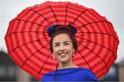 30 April 2019; Racegoer Becky Jackson from Kilteegan, Co Wicklow, prior to racing during the Punchestown Festival Champion Chase Day at Punchestown Racecourse in Naas, Kildare. Photo by David Fitzgerald/Sportsfile