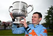 30 April 2019; Jockey Paul Townend celebrates with the cup after winning the BoyleSports Champion Steeplechase on Un De Sceaux at Punchestown Racecourse in Naas, Kildare. Photo by David Fitzgerald/Sportsfile