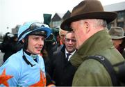 30 April 2019; Winning jockey Paul Townend with winning trainer Willie Mullins after riding Un De Sceaux to win the BoyleSports Champion Steeplechase at Punchestown Racecourse in Naas, Kildare. Photo by David Fitzgerald/Sportsfile