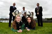 1 May 2019; In attendance at the 2019 Fota Island Resort FAI Gaynor Tournament launch at City Hall in Merchants Quay, Limerick, are Limerick County player Laoise Browne, left, and Limerick Desmond League player Chloe O'Keeffe, along with Fergal Harte, Fota Collection, Niamh O'Donoghue, FAI board member, and Cllr James Collins, Mayor of Limerick City and County. Photo by Diarmuid Greene/Sportsfile