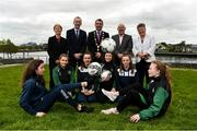 1 May 2019; In attendance at the 2019 Fota Island Resort FAI Gaynor Tournament launch at City Hall in Merchants Quay, Limerick, are Limerick Desmond League players Chloe O'Keeffe, Lorna Healy, and Nicole McNamara, Limerick County players and Emma Kett, Siobhan Cooke and Laoise Browne, along with Sue Ronan, FAI Head of Womens Football, Fergal Harte, Fota Collection, Cllr James Collins, Mayor of Limerick City and County, Dave Connell, FAI head of Womens Underage Development, and Niamh O'Donoghue, FAI board member. Photo by Diarmuid Greene/Sportsfile