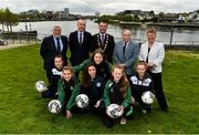 1 May 2019; In attendance at the 2019 Fota Island Resort FAI Gaynor Tournament launch at City Hall in Merchants Quay, Limerick, are Limerick Desmond League players Lorna Healy, Chloe O'Keeffe, and Nicole McNamara, Limerick County players and Emma Kett, Siobhan Cooke and Laoise Browne, along with Noel Fitzroy, Vice-President of the FAI, Fergal Harte, Fota Collection, Cllr James Collins, Mayor of Limerick City and County, Mick Hanley, FAI board member, and Niamh O'Donoghue, FAI board member. Photo by Diarmuid Greene/Sportsfile