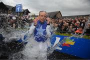 1 May 2019; Ruby Walsh is soaked by fellow jockeys after he announced his retirement after he rode Kemboy to win The Coral Punchestown Gold Cup during the Punchestown Festival Gold Cup Day at Punchestown Racecourse in Naas, Kildare. Photo by David Fitzgerald/Sportsfile