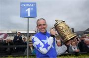 1 May 2019; Ruby Walsh celebrates with the Gold Cup after he announced his retirement after he won The Coral Punchestown Gold Cup on Kemboy during the Punchestown Festival Gold Cup Day at Punchestown Racecourse in Naas, Kildare. Photo by David Fitzgerald/Sportsfile