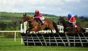 1 May 2019; Minella Indo, with Rachael Blackmore up, clear the last the last ahead of Allaho, with Ruby Walsh up, on their way to winning The Grade 1 Irish Daily Mirror Novice Hurdle during the Punchestown Festival Gold Cup Day at Punchestown Racecourse in Naas, Kildare. Photo by David Fitzgerald/Sportsfile