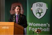 1 May 2019; Cllr James Collins, Mayor of Limerick City and County, speaking during the 2019 Fota Island Resort FAI Gaynor Tournament launch at City Hall in Merchants Quay, Limerick. Photo by Diarmuid Greene/Sportsfile