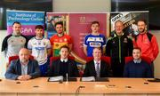 2 May 2019; In attendance during the Launch of Carlow IT and GPA Memorandum of Understanding at Carlow IT in Carlow are, backrow, from left, Emmett Egan, Tutor, Sports Coaching and Business Management GAA, Colin Dunford of Waterford, Chris Nolan of Carlow, Eoin Buggie of Laois, Michael Dempsey, Programme leader, Sports Coaching and Business Management GAA, Alan Nolan, Tutor, Sports Coaching and Business Management GAA, and front row, from left, David Deniffe, Vice President of Academic Affairs, Carlow IT,  Paul Flynn, GPA CEO, Cormac O'Toole, Vice-President for Corporate Affairs and Financial Controller, Carlow IT,  and Noel Connors, National Education Officer, GPA.  Photo by Sam Barnes/Sportsfile