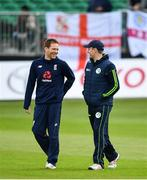 3 May 2019; Ireland captain William Porterfield, right, and England captain Eoin Morgan in conversation during a pitch inspection prior to the One Day International between Ireland and England at Malahide Cricket Ground in Dublin. Photo by Sam Barnes/Sportsfile