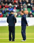 3 May 2019; Ireland captain William Porterfield, left, and England captain Eoin Morgan in conversation during a pitch inspection prior to the One Day International between Ireland and England at Malahide Cricket Ground in Dublin. Photo by Sam Barnes/Sportsfile