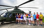 3 May 2019; Footballers, from left to right, Dean Healy of Wicklow, Kieran Martin of Westmeath, Gareth Dillon of Laois, Eoin Doyle of Kildare, John Murphy of Carlow, Andrew Farrell of Longford, Niall Darby of Offaly, Brian Howard of Dublin, Bevan Duffy of Louth and Michael Furlong of Wexford during the launch of the Leinster GAA Senior Championships at the Casement Aerodrome in Baldonnel, Dublin. Photo by David Fitzgerald/Sportsfile