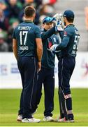 3 May 2019; Eoin Morgan of England, centre, celebrates with teammates after catching out Lorcan Tucker of Ireland during the One Day International between Ireland and England at Malahide Cricket Ground in Dublin. Photo by Sam Barnes/Sportsfile