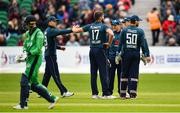 3 May 2019; England players celebrate as Lorcan Tucker of Ireland leaves the field after being caught by Eoin Morgan of England during the One Day International between Ireland and England at Malahide Cricket Ground in Dublin. Photo by Sam Barnes/Sportsfile