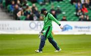 3 May 2019; Lorcan Tucker of Ireland leaves the field after being caught by Eoin Morgan of England during the One Day International between Ireland and England at Malahide Cricket Ground in Dublin. Photo by Sam Barnes/Sportsfile