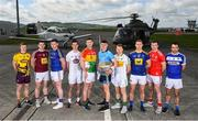 3 May 2019; Footballers, from left to right, Michael Furlong of Wexford, Kieran Martin of Westmeath, Andrew Farrell of Wicklow, Eoin Doyle of Kildare, John Murphy of Carlow, Brian Howard of Dublin, Niall Darby of Offaly, Dean Healy of Wicklow, Bevan Duffy of Louth and Gareth Dillon of Laois during the launch of the Leinster GAA Senior Championships at the Casement Aerodrome in Baldonnel, Dublin. Photo by David Fitzgerald/Sportsfile