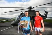 3 May 2019; Brian Howard of Dublin, left, and Bevan Duffy of Louth during the launch of the Leinster GAA Senior Championships at the Casement Aerodrome in Baldonnel, Dublin. Photo by David Fitzgerald/Sportsfile