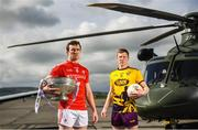 3 May 2019; Bevan Duffy of Louth, left, and Michael Furlong of Wexford during the launch of the Leinster GAA Senior Championships at the Casement Aerodrome in Baldonnel, Dublin. Photo by David Fitzgerald/Sportsfile