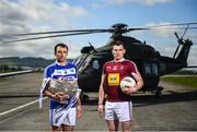 3 May 2019; Gareth Dillon of Laois, left, and Kieran Martin of Westmeath during the launch of the Leinster GAA Senior Championships at the Casement Aerodrome in Baldonnel, Dublin. Photo by David Fitzgerald/Sportsfile