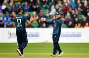3 May 2019; Eoin Morgan of England, right, celebrates with Liam Plunkett of England after catching out George Dockrell of Ireland during the One Day International between Ireland and England at Malahide Cricket Ground in Dublin. Photo by Sam Barnes/Sportsfile