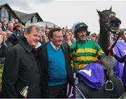 3 May 2019; Owner JP McManus, left, trainer Nicky Henderson, centre, and jockey Davy Russell after sending out Buveur D'air to win the BETDAQ Punchestown Champion Hurdle at Punchestown Racecourse in Naas, Kildare. Photo by Seb Daly/Sportsfile