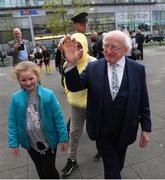 3 May 2019; The President of Ireland Michael D Higgins arrives prior to the 2019 UEFA European Under-17 Championships Group A match between Republic of Ireland and Greece at Tallaght Stadium in Dublin. Photo by Stephen McCarthy/Sportsfile