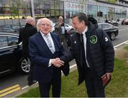 3 May 2019; The President of Ireland Michael D Higgins is greeted by FAI President Donal Conway on arrival prior to the 2019 UEFA European Under-17 Championships Group A match between Republic of Ireland and Greece at Tallaght Stadium in Dublin. Photo by Stephen McCarthy/Sportsfile