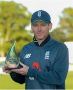 3 May 2019; Eoin Morgan of England with the trophy following the One Day International between Ireland and England at Malahide Cricket Ground in Dublin. Photo by Sam Barnes/Sportsfile