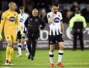 3 May 2019; A disappointed Gary Rogers and Michal Duffy of Dundalk after the SSE Airtricity League Premier Division match between Dundalk and Derry City at Oriel Park in Dundalk, Louth. Photo by Oliver McVeigh/Sportsfile